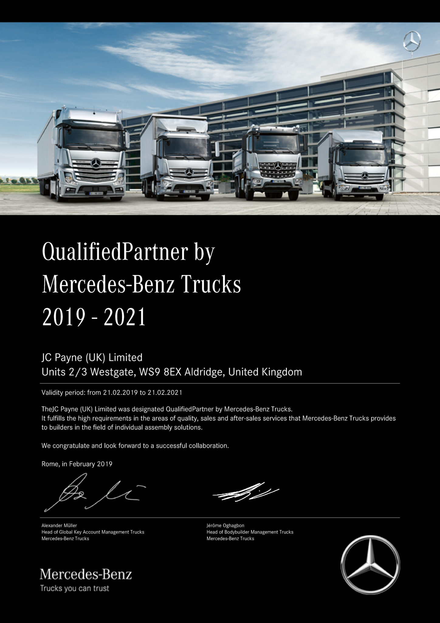 Certificate showing JC Payne Qualified Partner Status with Mercedes Benz Trucks